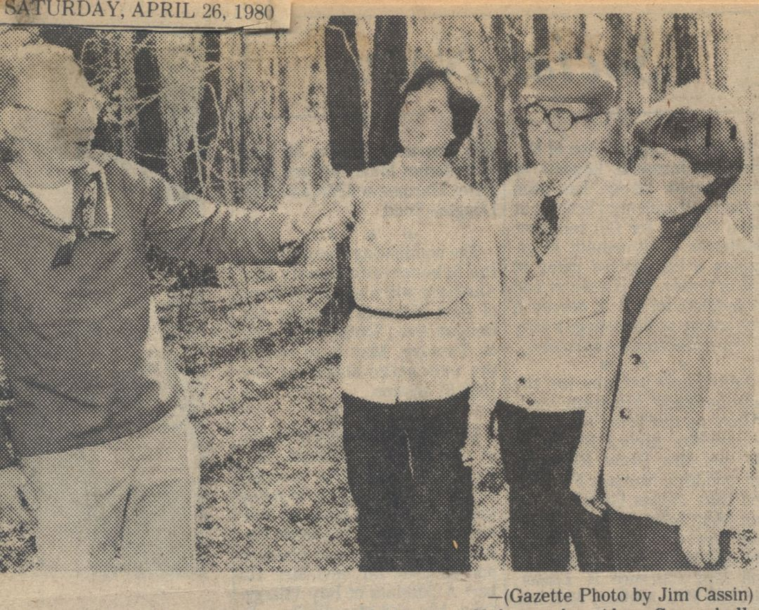 1980: Spring wildflower walk with Almy Coggeshall, Betsy Potts, Joe Rooney and Peggy Witek.