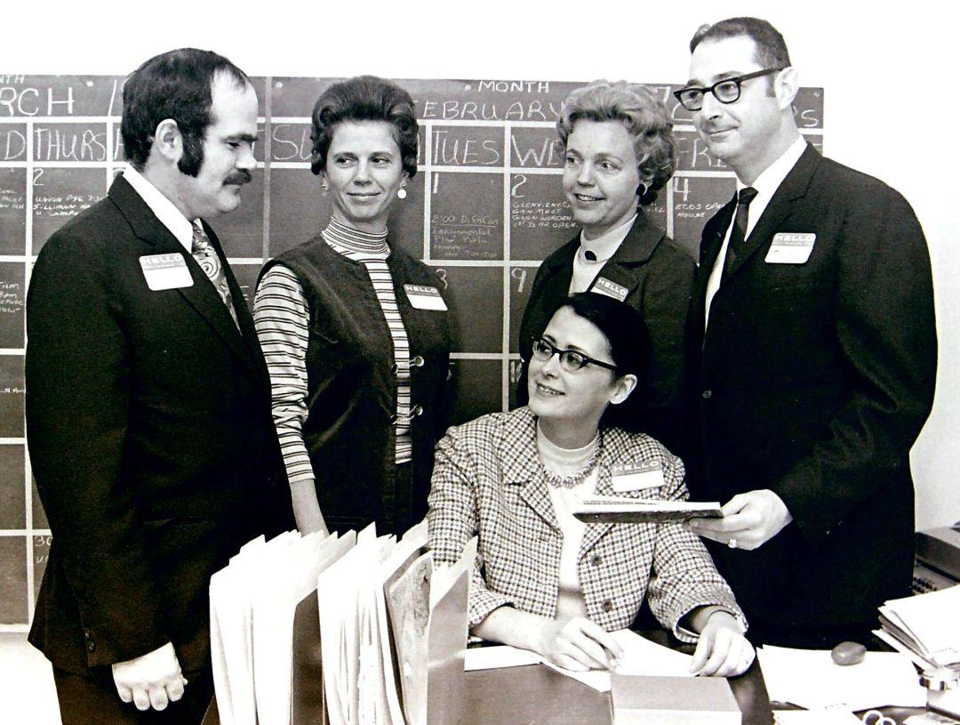 1972: ECOS Director Georgia Wirth (seated); (l to r) Donald R. Dobson, Margaret Schadler, Ann Allison and Thomas Hall. (Gazette photo).