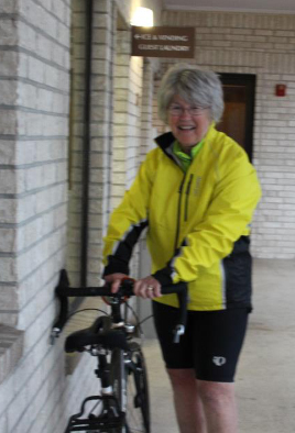 Pat Rush getting ready for the day's ride