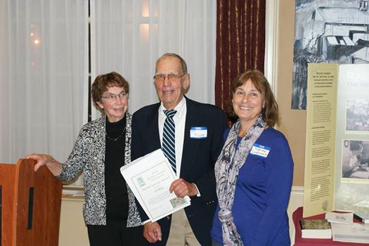 2014 ECOS Rachel Carson Award Winner Ed Miller (C) with ECOS Board Member Kathie Armstrong (L) and ECOS Board President Denise Cashmere (R)