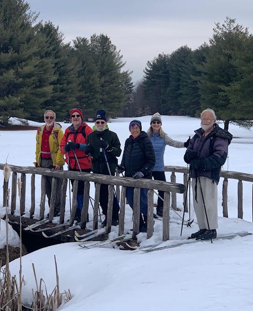 Skiers on Bridge