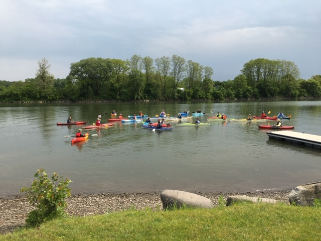 paddlers heading out